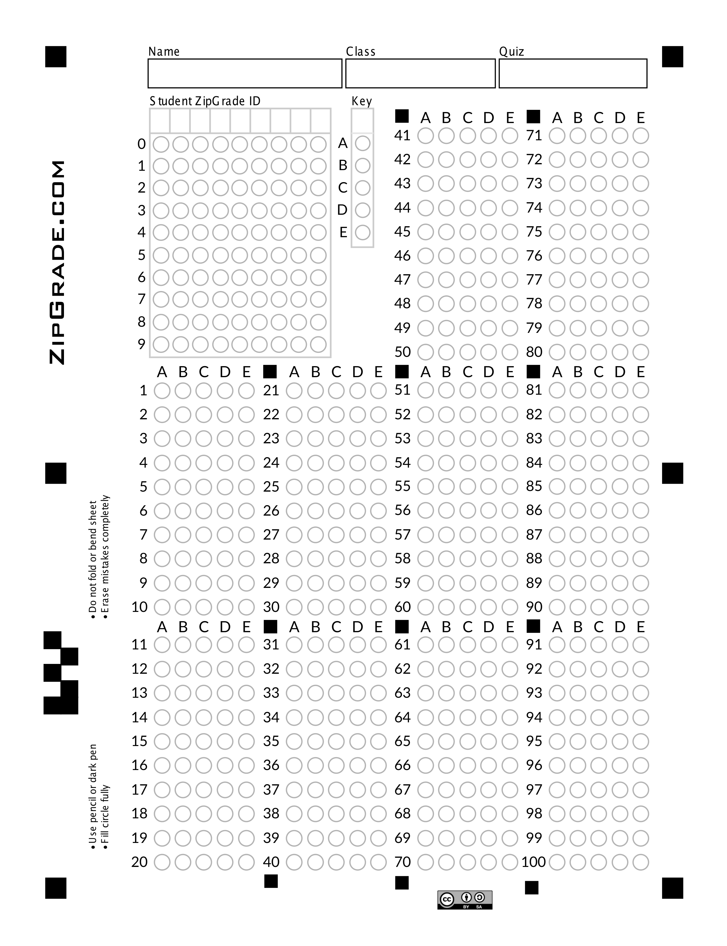 image about Printable Scantron Form named ZipGrade: Alternative Sheet Kinds